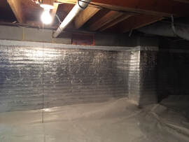 Crawl space encapsulation with 20 mil vapor barrier in Charleston, SC